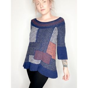 Free People | Patchwork boatneck sweater | sz S